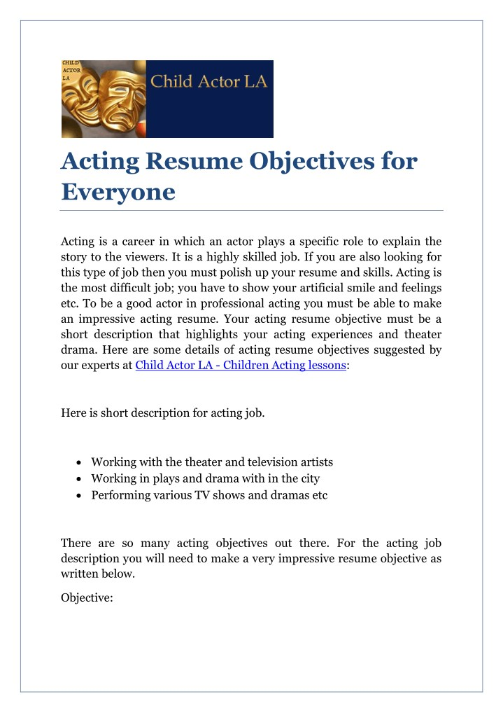 acting resume objectives for everyone n.