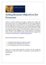 acting resume objectives for everyone