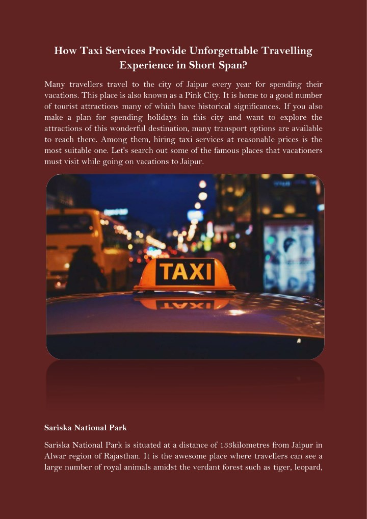 how taxi services provide unforgettable n.