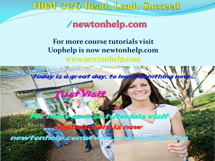 hrm 326 read lead succeed newtonhelp com n.