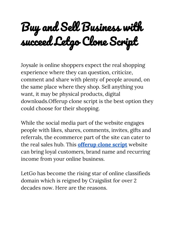 buy and sell business with succeed letgo clone n.