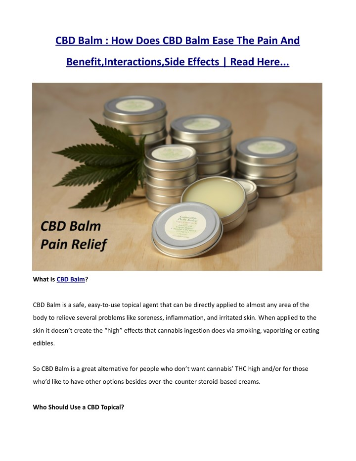cbd balm how does cbd balm ease the pain and n.