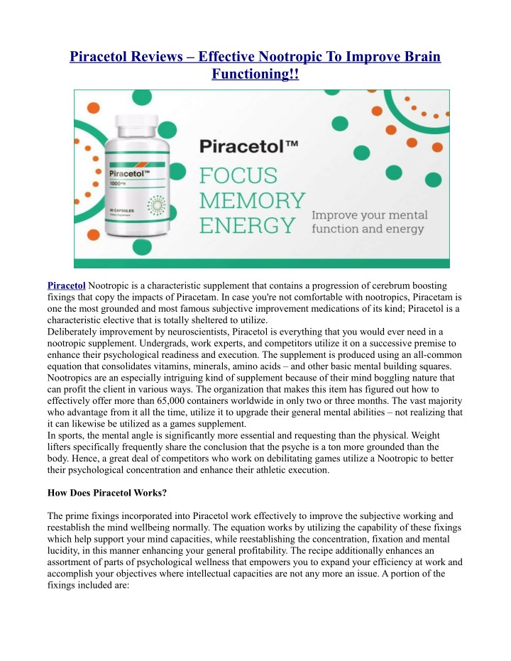 piracetol reviews effective nootropic to improve n.