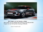 mini cooper jcw car weekly rent starting