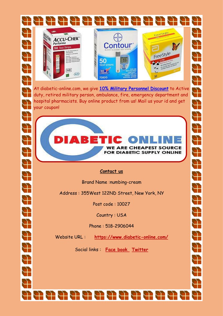 at diabetic online com we give 10 military n.