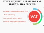 other required detail for vat registration process
