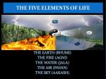 the earth bhumi the fire agni the water jala the air pavan the sky aakash