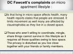 dc fawcett s complaints on micro apartment lifestyle