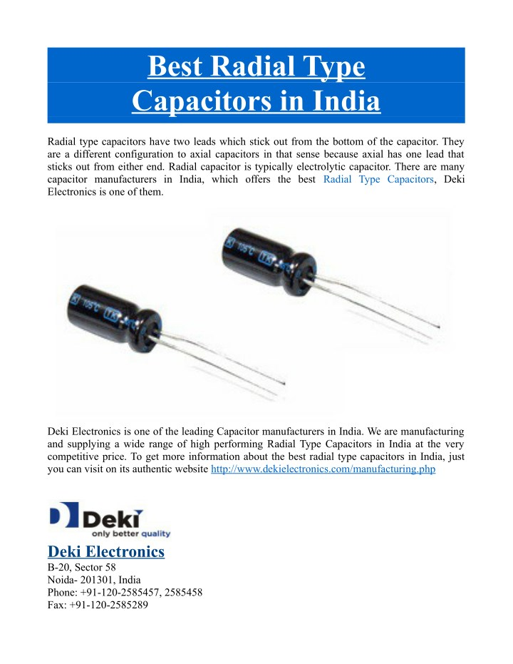 best radial type capacitors in india n.