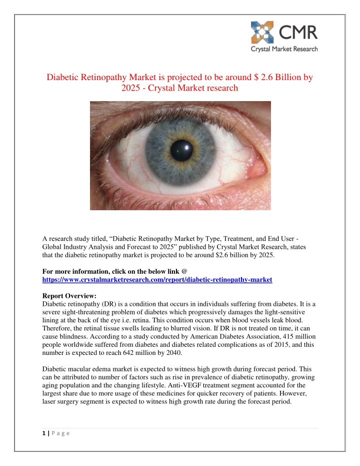 diabetic retinopathy market is projected n.