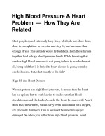 high blood pressure heart problem how they