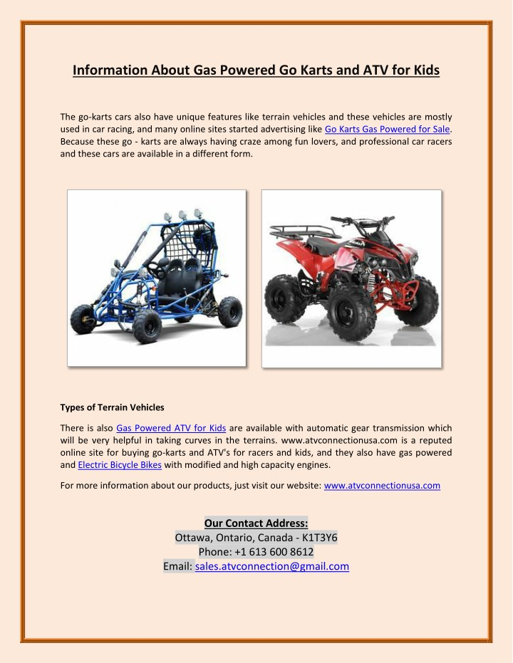 information about gas powered go karts n.