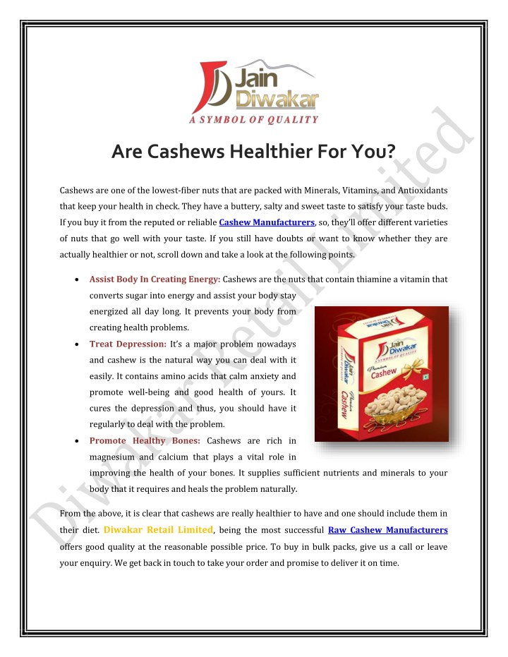 are cashews healthier for you n.