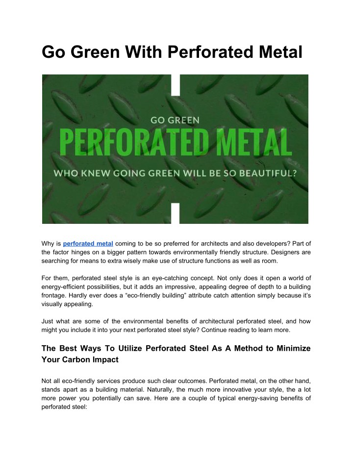go green with perforated metal n.