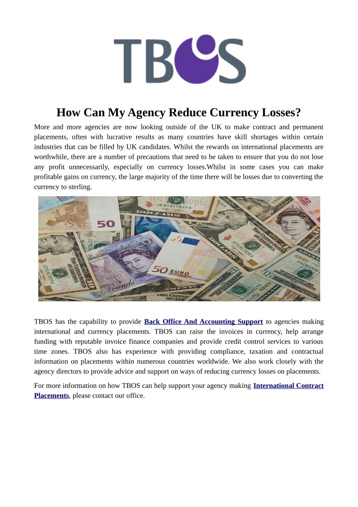 how can my agency reduce currency losses n.