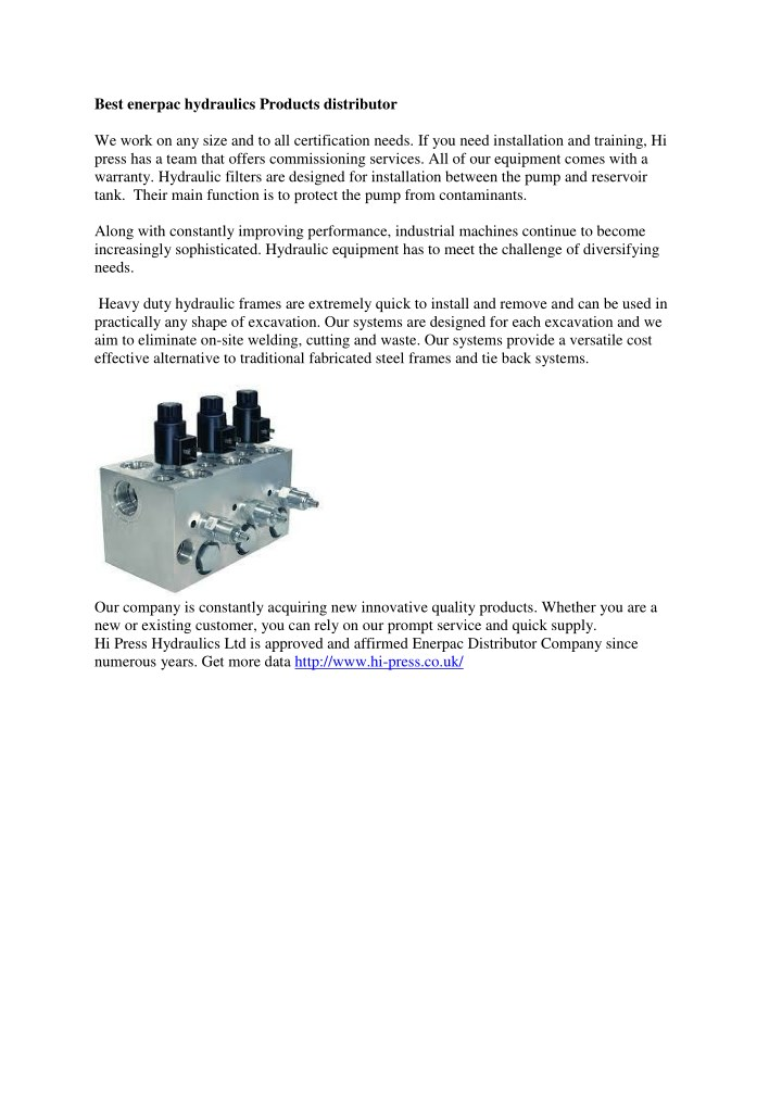best enerpac hydraulics products distributor n.