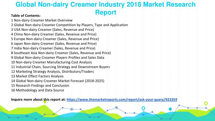global and china non dairy creamer industry In this report, the global non dairy creamer market is valued at usd xx million in 2016 and is expected to reach usd xx million by the end of 2022, growing at a.