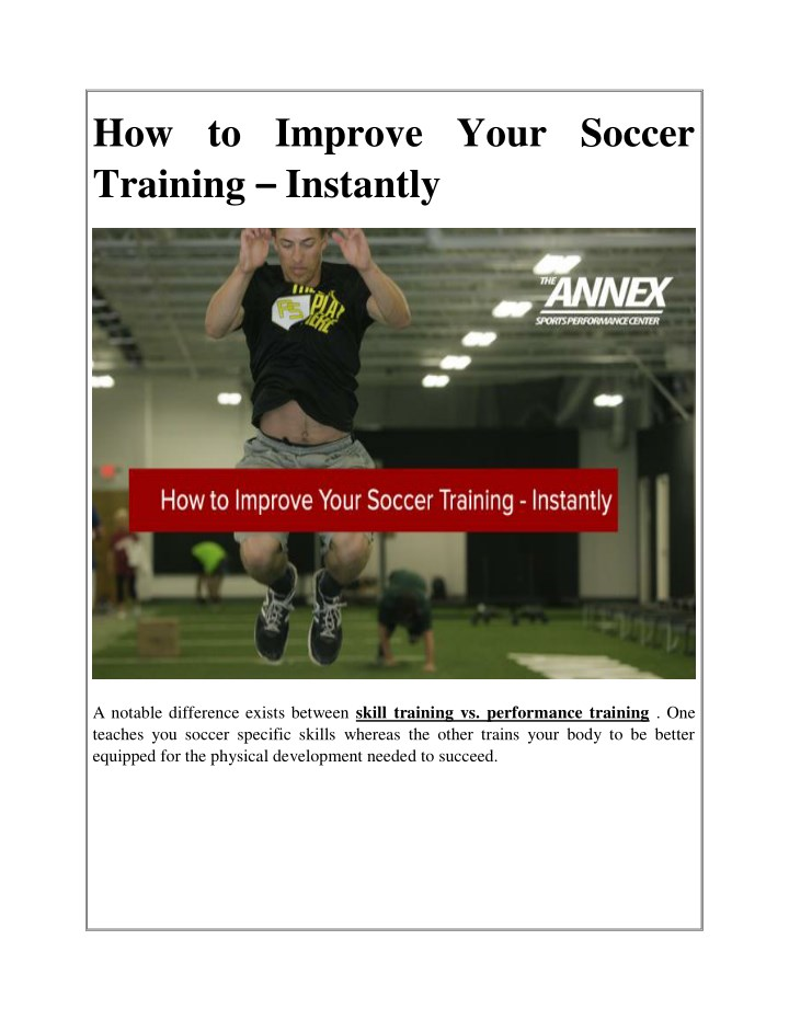 how to improve your soccer training instantly n.