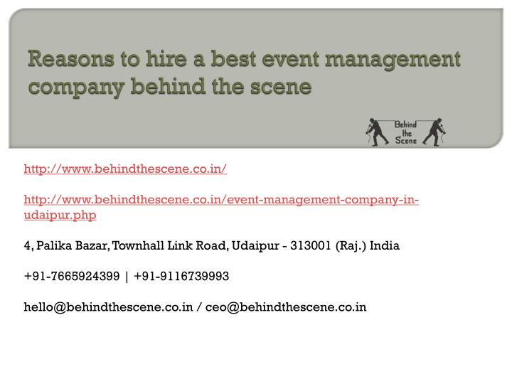 reasons to hire a best event management company behind the scene n.