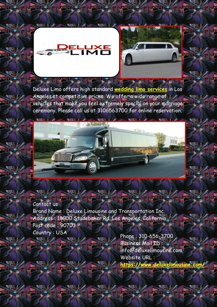 deluxe limo offers high standard wedding limo n.