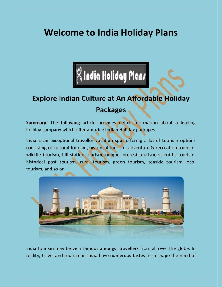 welcome to india holiday plans n.