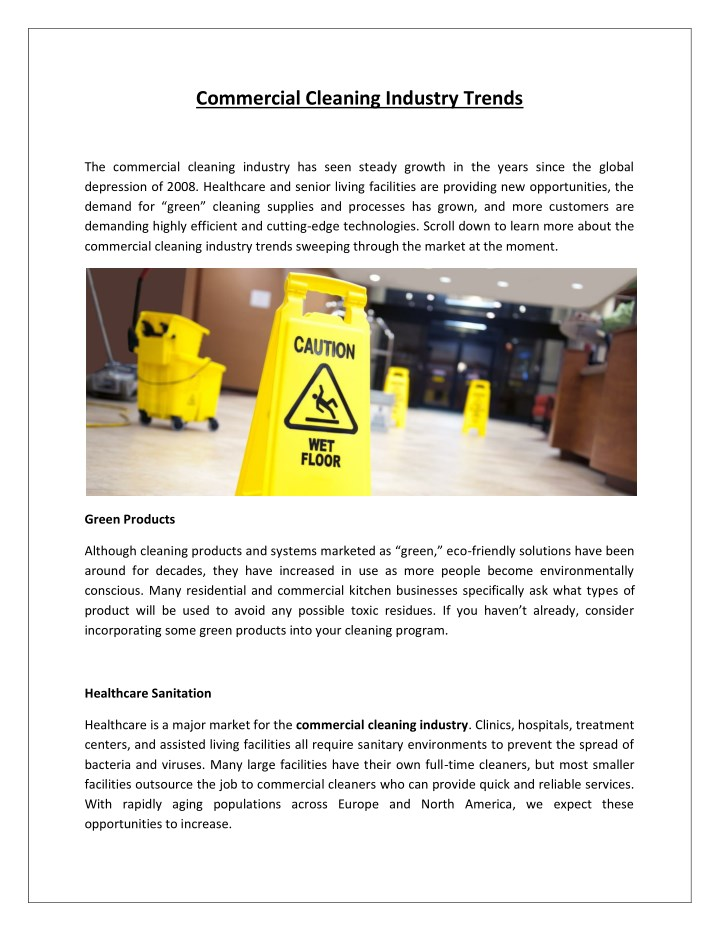 commercial cleaning industry trends n.