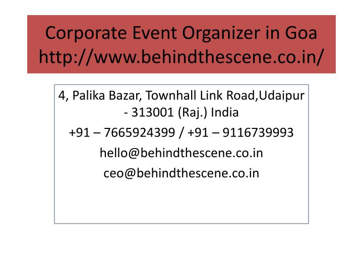 corporate event organizer in goa http www behindthescene co in n.