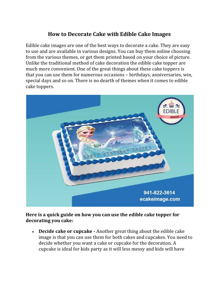 how to decorate cake with edible cake images n.