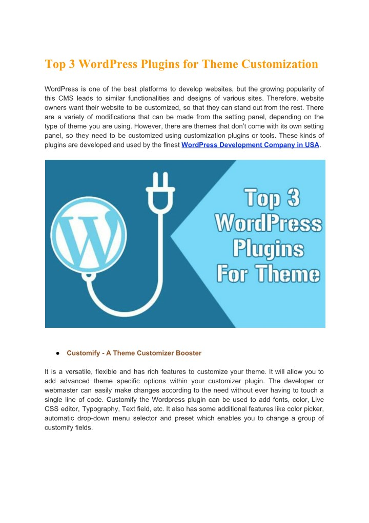 top 3 wordpress plugins for theme customization n.