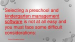 selecting a preschool and kindergarten management
