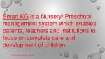 smart kg is a nursery preschool management system