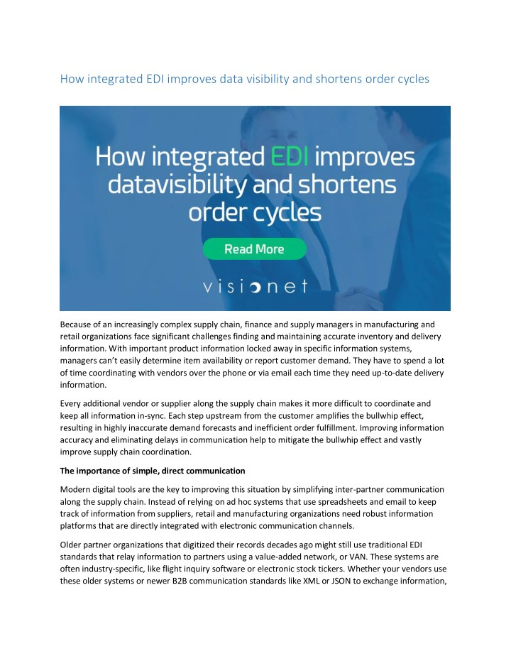 how integrated edi improves data visibility n.