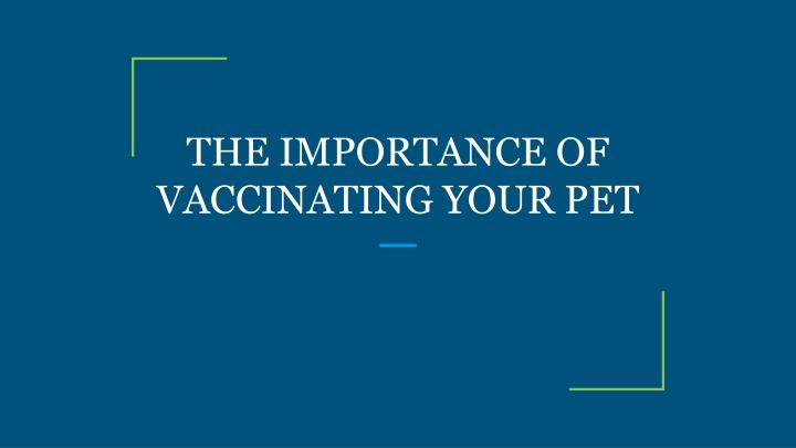the importance of vaccinating your pet n.