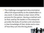 the challenge management documentation offers