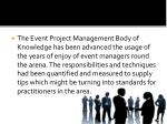 the event project management body of knowledge
