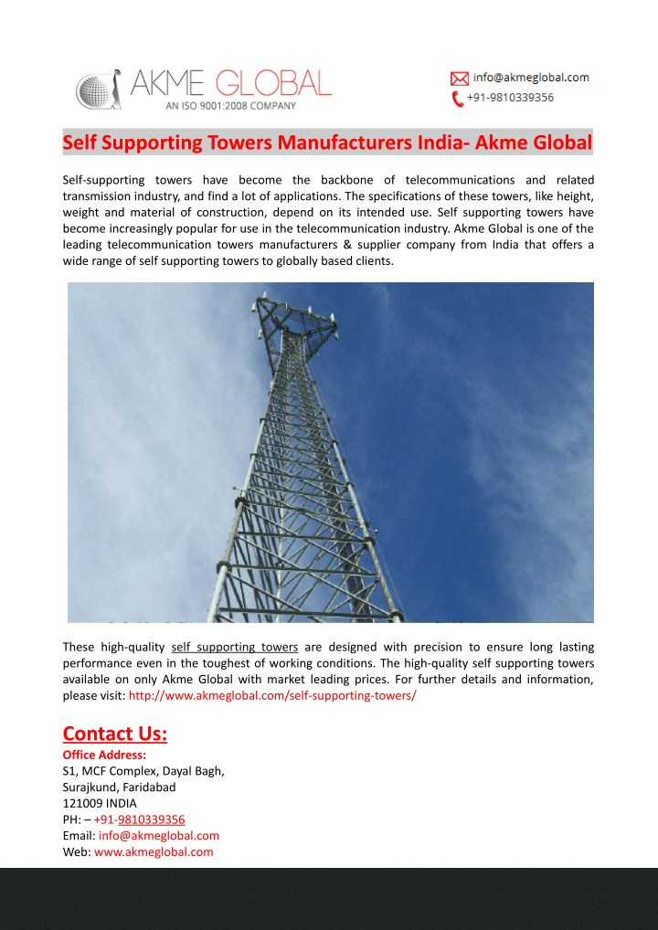 self supporting towers manufacturers india akme n.
