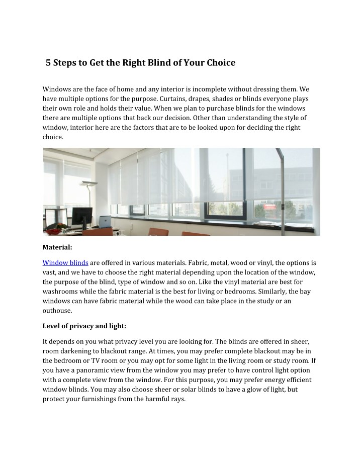 5 steps to get the right blind of your choice n.