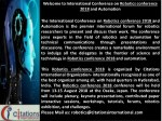 welcome to international conference on robotics