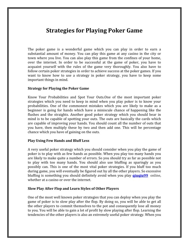 strategies for playing poker game n.