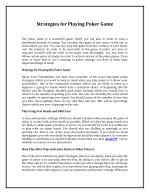 strategies for playing poker game