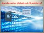 how to back up your split database in microsoft