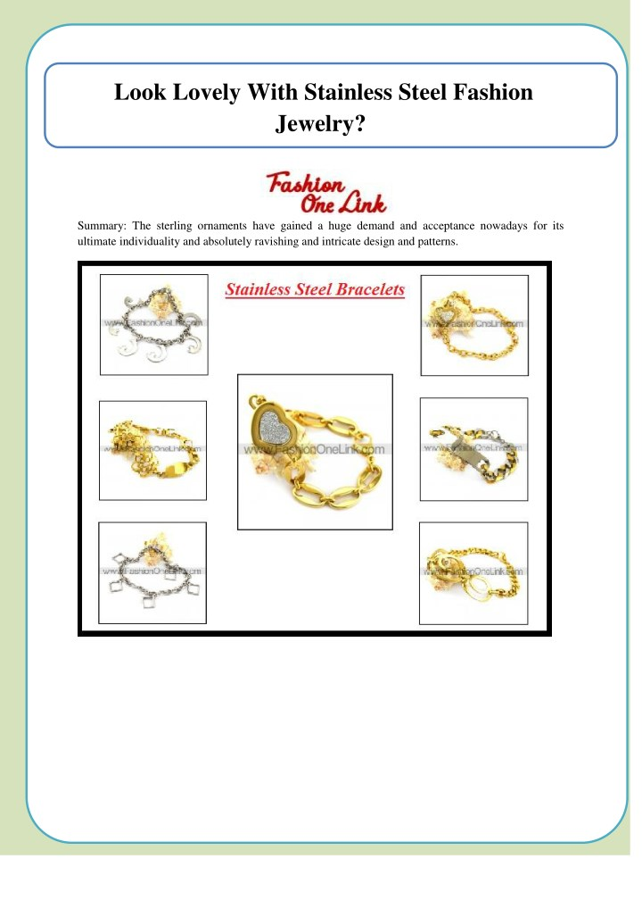 look lovely with stainless steel fashion jewelry n.