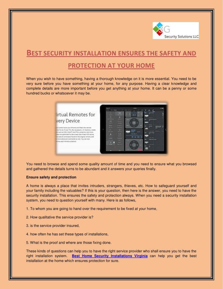 b est security installation ensures the safety and n.
