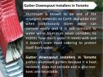 gutter downspout installers in toronto
