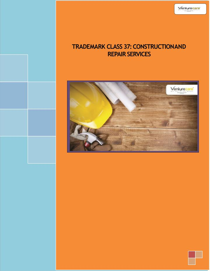 trademark class 37 construction and repair n.