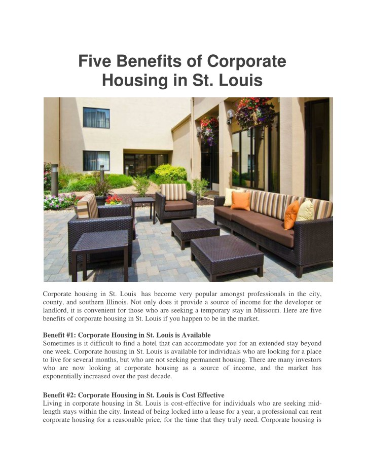 five benefits of corporate housing in st louis n.