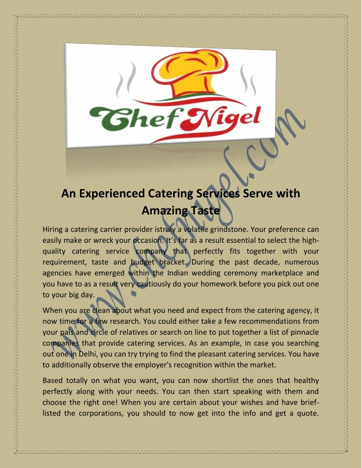 an experienced catering services serve with n.