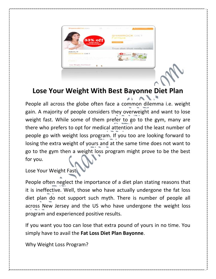 lose your weight with best bayonne diet plan n.