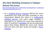 hire best wedding company in udaipur behind 2