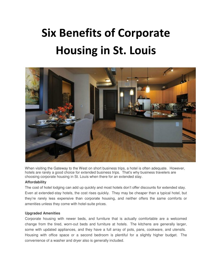 six benefits of corporate housing in st louis n.